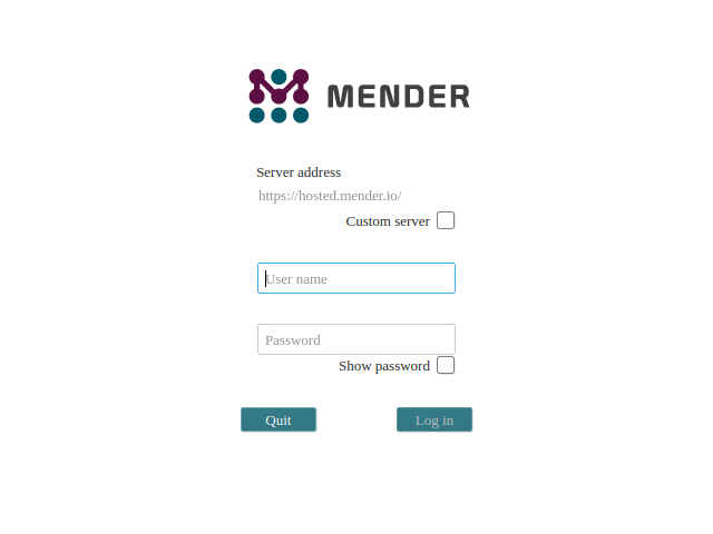 Mender Easy Installer image asking for Hosted Mender credentials (step 4)